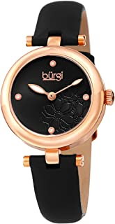 Burgi Women's Bur197Bkr Diamond Accented Flower Dial Rose Gold & Black Leather Strap Watch, Analog Display