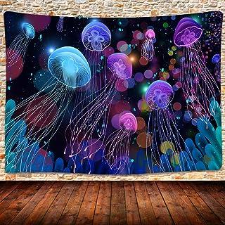 UHOMETAP Under Sea Ocean Jellyfish Tapestry Wall Hanging Fantasy Magical Colorful Marine Life Tapestry Decor Bedroom Livin...