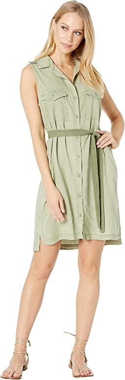 Sleeveless Patch Pocket Shirtdress