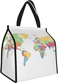 Y-shop Teen Decor Collection Multicolored High School Class World Map with Names of Countries Picnic Freezer Bag,Large Ins...