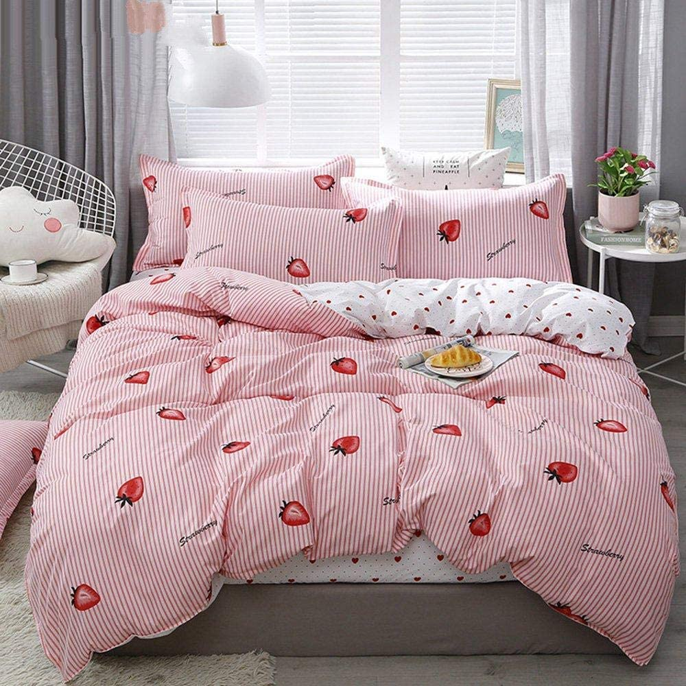 XUESDJMN Bedding 90X90 Max 74% OFF Inch Simple Omaha Mall S Queen Fruit Strawberry Pink