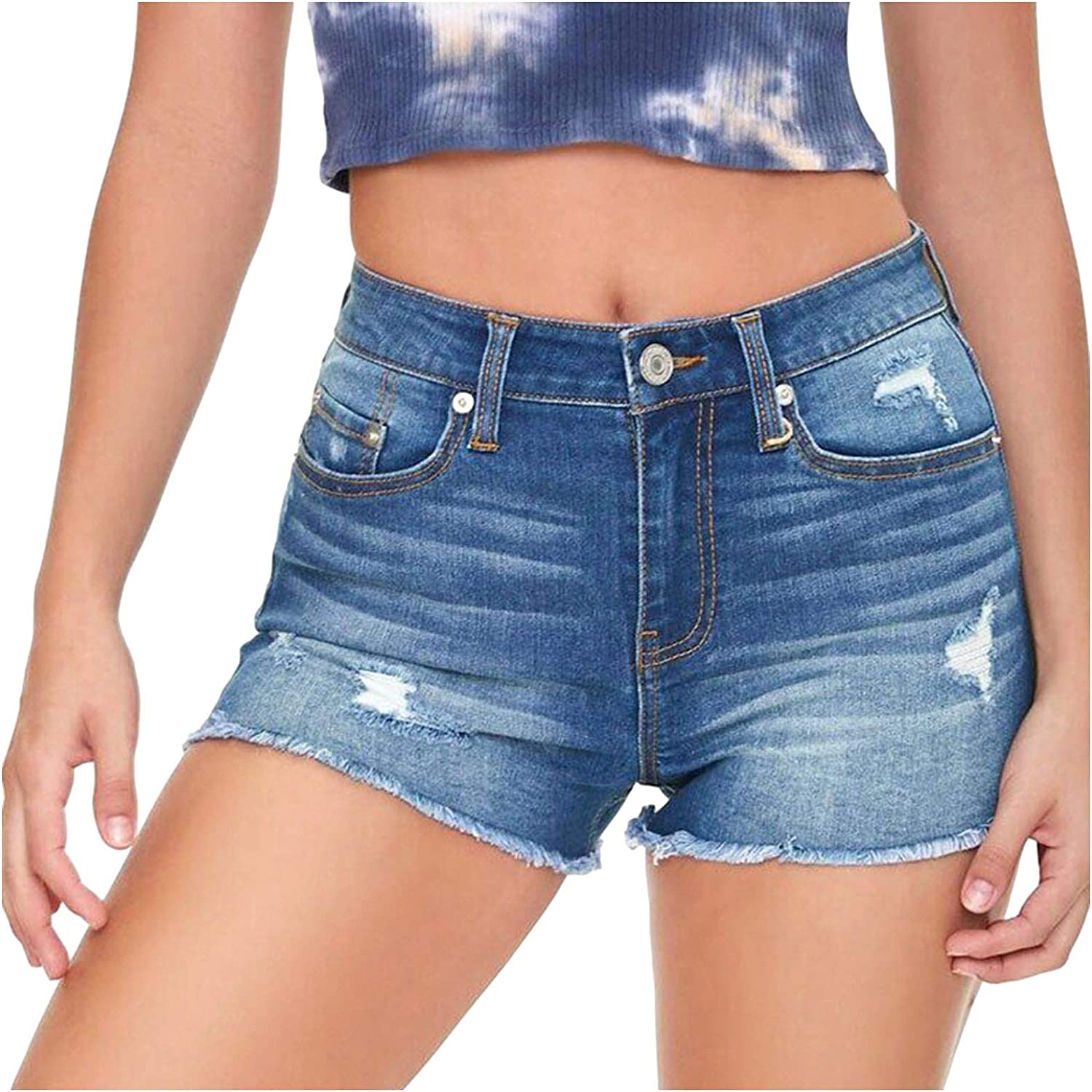 DOAEGNG Ripped Casual Vintage Short Jeans for Women,Stretch Slim Ripped Distressed Denim Shorts