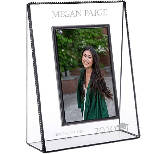 PERSONALISED WITH A MESSAGE GRADUATION BLACK GLASS PHOTO FRAME GRADUATE
