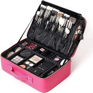 ROWNYEON Makeup Bag PU Leather Makeup Case Travel Makeup Bag Makeup Organizer Bag (Pink Large)