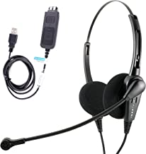 InnoTalk Noise cancelling Computer PC headset with USB Adapter built in In-Line control Board for softphones, Avaya One-X Agent, 3CX
