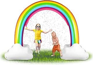 SainSmart Jr. Inflatable Rainbow Sprinkler Backyard Games Summer Outside Water Toy, Yard Fun for Kids with Over 6 Feet Long Giant Sprinkler