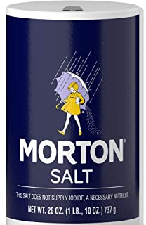 Morton Table Salt, All-Purpose Non-Iodized Salt for Cooking, Seasoning, and Baking, 26 OZ Canister (Pack of 24)