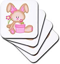 3dRose Cute Pink and Brown Bunny Rabbit with Flowers - Soft Coasters, Set of 8 (CST_210712_2)