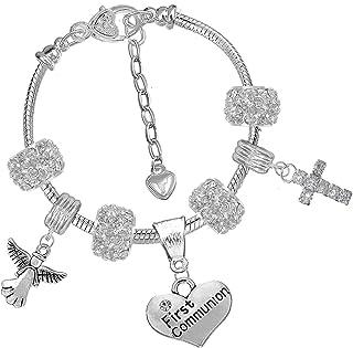 Ensemble bracelet /à breloques en argent pour premi/ère communion//confirmation Cadeau pour filles