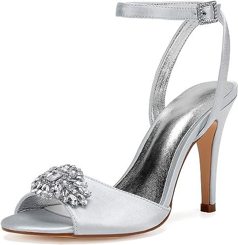 JRYYUE zapatos de Boda para mujer Peep Toe Satén Hebilla plataforma Damas Honor Vestido De Dama 10.5 Cm