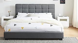 Générique Lit Adulte avec tête de lit capitonnée en Tissu Gris foncé, sommier à Latte, 140x190 - Collection William