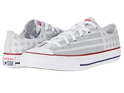 Converse Kids Chuck Taylor All Star Bars and Stripes Ox (Little Kid/Big Kid) (Photon Dust/Dolphin/White) Kid