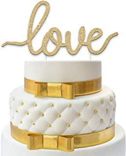 Love Wedding Cake Topper - Premium Gold Glitter - Best Cake Decoration for Weddings, Anniversaries, Valentine, Engagement Parties, Mother's Day & more - Exclusive Design by Merry Expressions