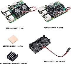Enokay Raspberry Pi 2 3 Model B B+ Dual Fan with Raspberry Pi Heatsink for Raspberry Pi 2B 3B 3B+