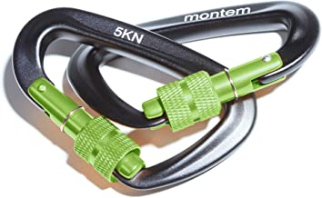 Montem The Best Ultra Sturdy Locking Carabiners x2/5kN/1100 lbs of Force/Perfect Hammocks/All Camping Hammocks-Made from Light, Strong & Powerful Aircraft Grade Metal