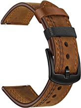 TRUMiRR Band for Samusng Galaxy Watch 42mm / Gear Sport/Active 2 40mm 44mm, 20mm Double Color Genuine Leather Watchband Quick Release Strap Wristband for Garmin Vivoactive 3/3 Music TicWatch E / 2