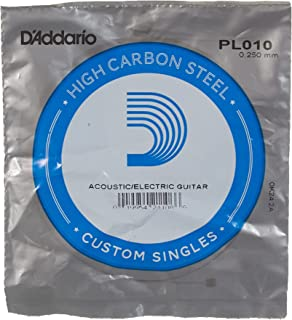 D'Addario PL010 Corde seule en acier pur pour guitare Calibre .010