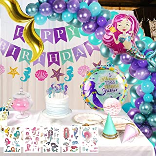 Mermaid Balloon Garland, 143Pcs Mermaid Party Supplies, Mermaid Balloon & Happy Birthday and Seashell Banners & Tattoos & Cake Flags & Mermaid Tail Balloon Arch Decorations for Happy Birthday Party