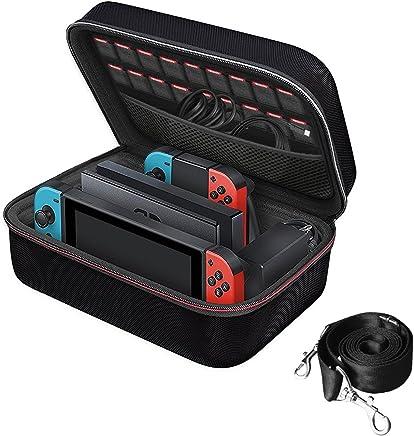 iVoler Etui pour Nintendo Switch, Deluxe Housse de Transport à Coque Rigide Anti Choc Housse avec Espace Plus Large pour Console Switch, Switch Dock, Joy-Cons, 18 Cartouche de Jeux et Autres