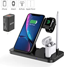 $25 » EVIGAL 4 in 1 Wireless Charger, Qi-Certified Fast Charging Station Compatible Apple Watch & AirPods & Apple Pencil, iPhone11/11Pro/11Pro Max/X/XS/XS Max/XR/8/8Plus, Samsung, Etc (with QC3.0 Adapter)