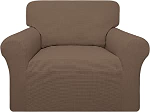 Easy-Going 100% Waterproof Chair Couch Cover, Dual Waterproof Sofa Cover, Stretch Jacquard Sofa Slipcover, Leakproof Furniture Protector for Kids, Pets, Dog and Cat (Chair, Brown)