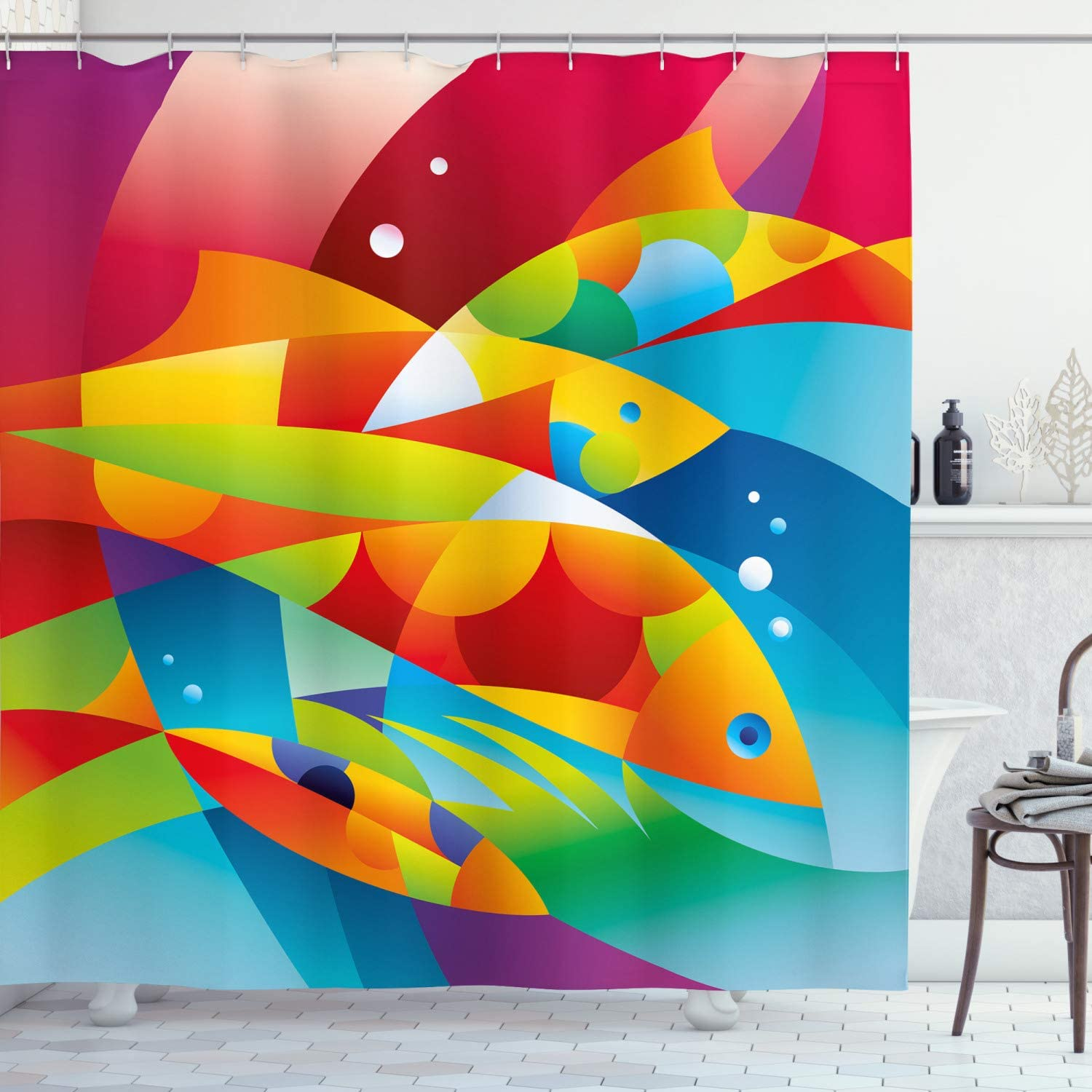 Ambesonne Colorful Shower Curtain At the price Fractal Diving into The Fish Elegant