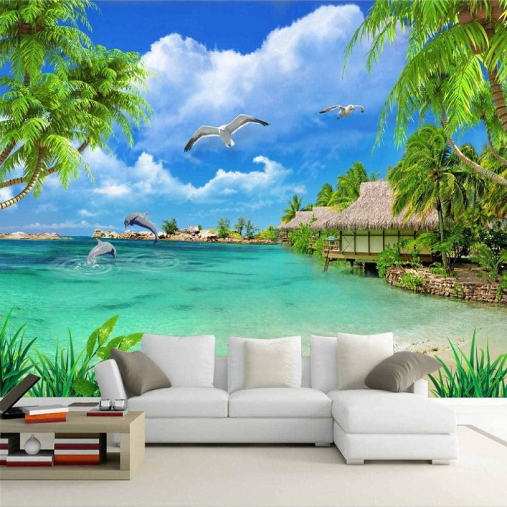 Custom 3D Photo Wallpaper Beach Sea Latest item Scenery View W Trees Coconut Dallas Mall