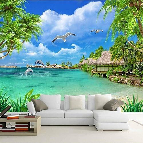 barato Zhangxuer Personalizado Papel Tapiz Tapiz Tapiz fotográfico 3D Playa Vista al mar árboles de Coco Paisaje Pintura de Parojo Sala de Estar Sofá TV Fondo Mural Papel de parojo200x140cm200x140cm  mejor reputación