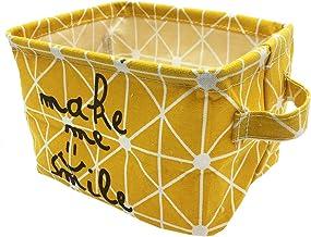 Mziart Small Foldable Canvas Storage Basket Cotton Fabric Mini Portable Storage Bin Nursery Organizer Box for Makeup Toys ...