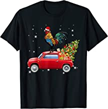 Chicken With Santa's Hat Riding Red Truck-Chicken Christmas T-Shirt
