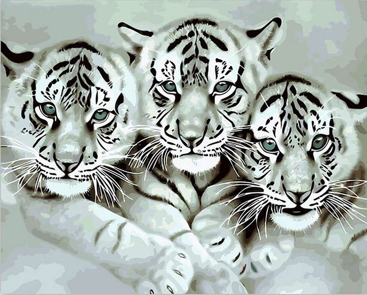 JynXos Wooden Framed Paint By Number Animals Canvas DIY Painting - Baby Tigers