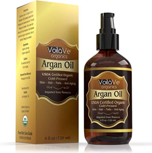 VoilaVe Usda And Ecocert Pure Organic Moroccan Argan Oil For Skin, Nails & Hair Growth, Anti-Aging Face Moisturizer, ...