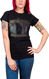 Bon Jovi T Shirt 新しい Jersey Band Logo 新しい 公式 レディーズ Skinny Fit