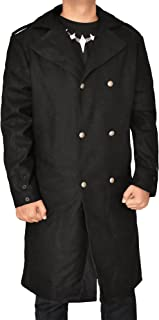 The American Fashion Black Detective Wool Peacoat for Mens Long