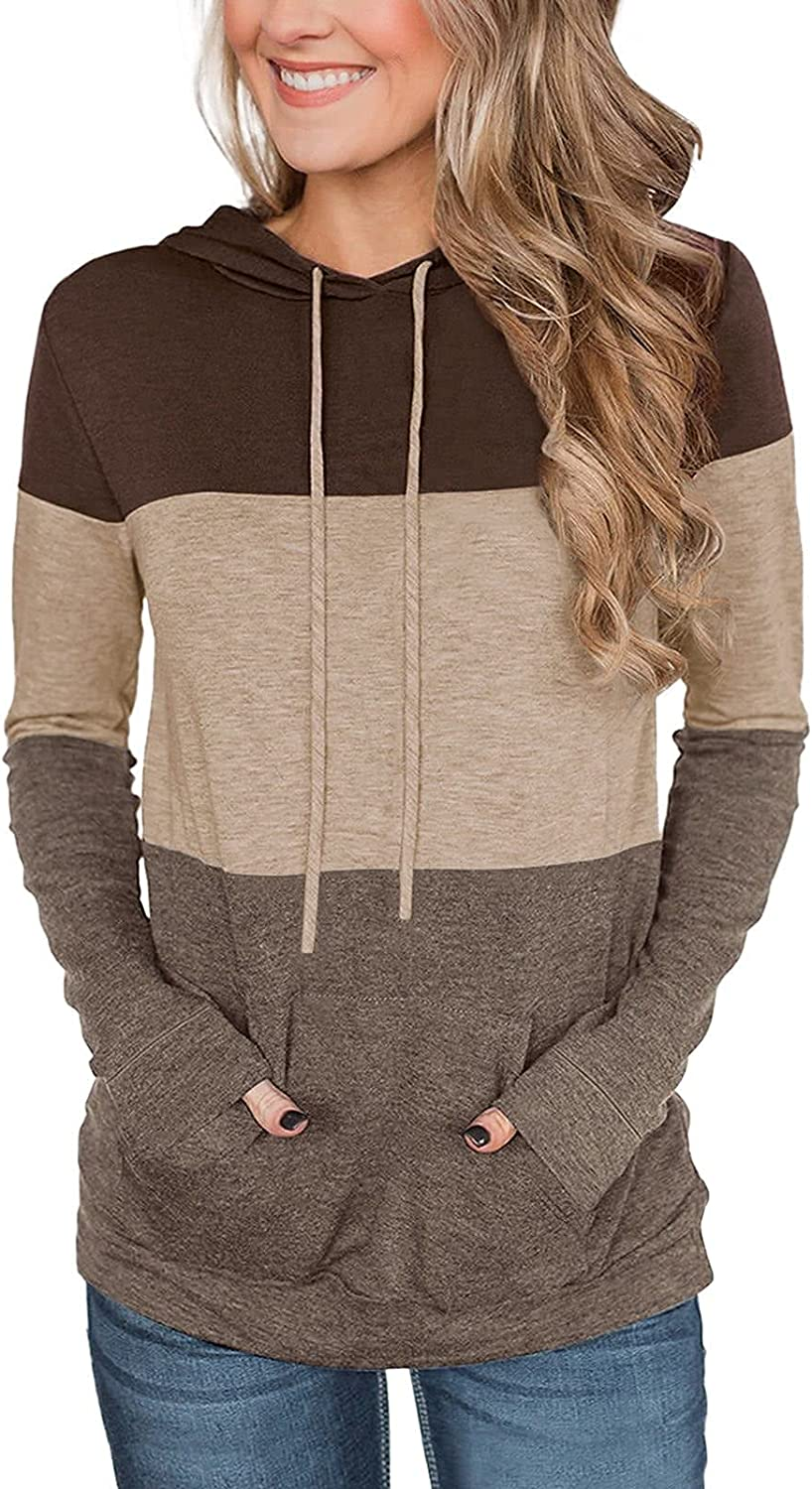 ADREAMLY Womens Round Neck Long Sleeve Tops Color Block Drawstring Hoodie Oversized Pullover Sweatshirt With Pockets