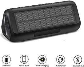 Bluetooth Speakers, Solar Bluetooth Speaker Portable Wireless Waterproof with 5000mAH Battery 12W 50H Playtime Bluetooth 5.0 Speaker for Home Party, Shower, Car, Outdoor, Travel