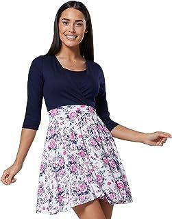 59d01b24c6848 HAPPY MAMA Women's Maternity Nursing Breastfeeding Skater Mini Dress Petit  603