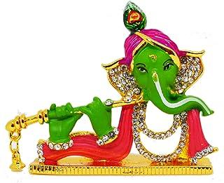 Saubhagya Global Vinay God Ganesha 5.5CM (Green) Gold Plated Idol/Murti/Statue Decorative Showpiece Gift Item for Car Dash...