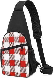 Mochila de cuadros de tartán de color rojo y blanco con diseño de cuadros navideños, ligera, para el hombro, bolso cruzado...