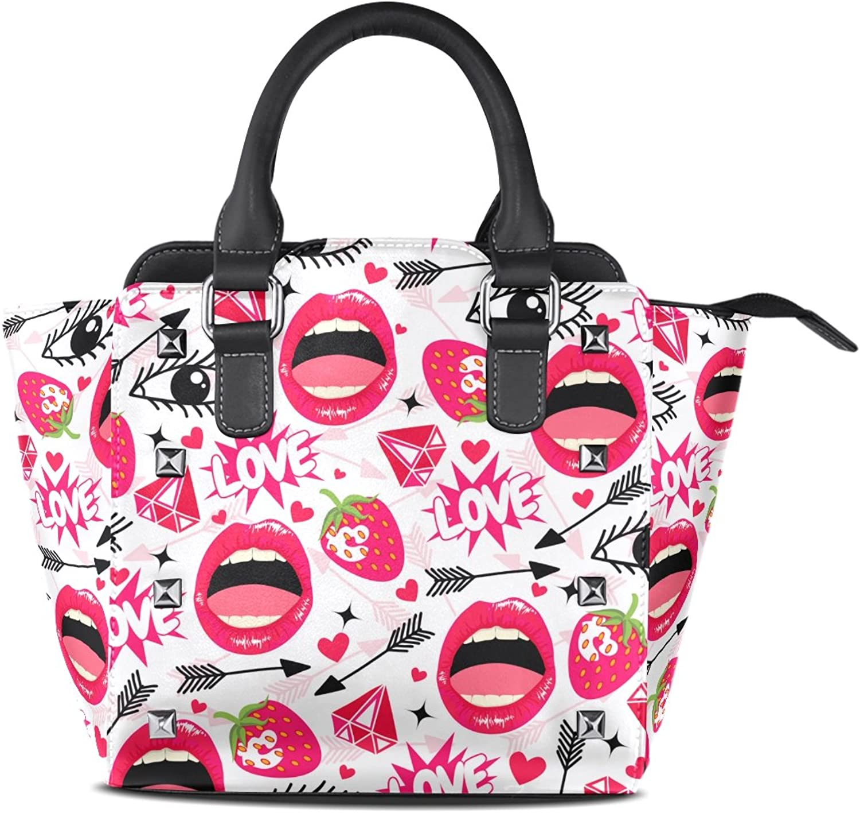 My Little Nest Women's Top Handle Satchel Handbag Funny Lips Eyes Strawbery Ladies PU Leather Shoulder Bag Crossbody Bag