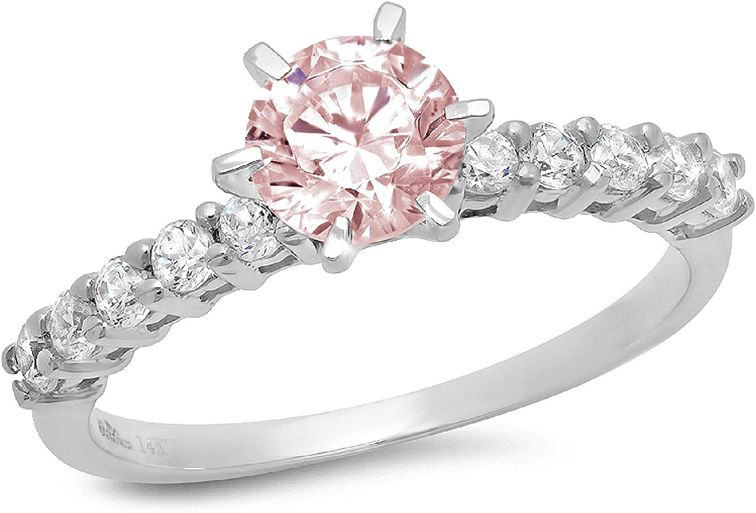 1.20ct Brilliant Round Cut Solitaire Genuine Flawless Pink Simulated Diamond Gemstone Engagement Promise Anniversary Bridal Wedding Accent Ring Solid 18K White Gold