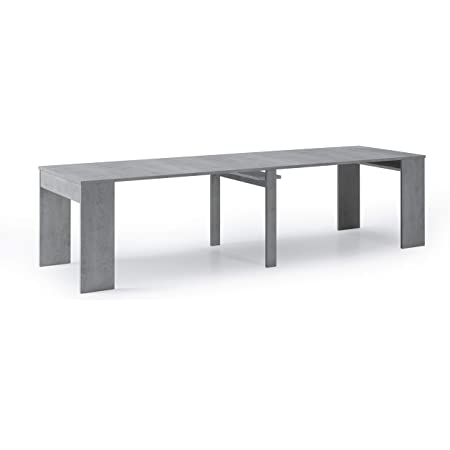 Skraut Home - Table Console de Salle à Manger Extensible jusqu'à 301 cm, Finition Couleur Ciment, Dimensions fermée : 90x50x78 cm de Haut