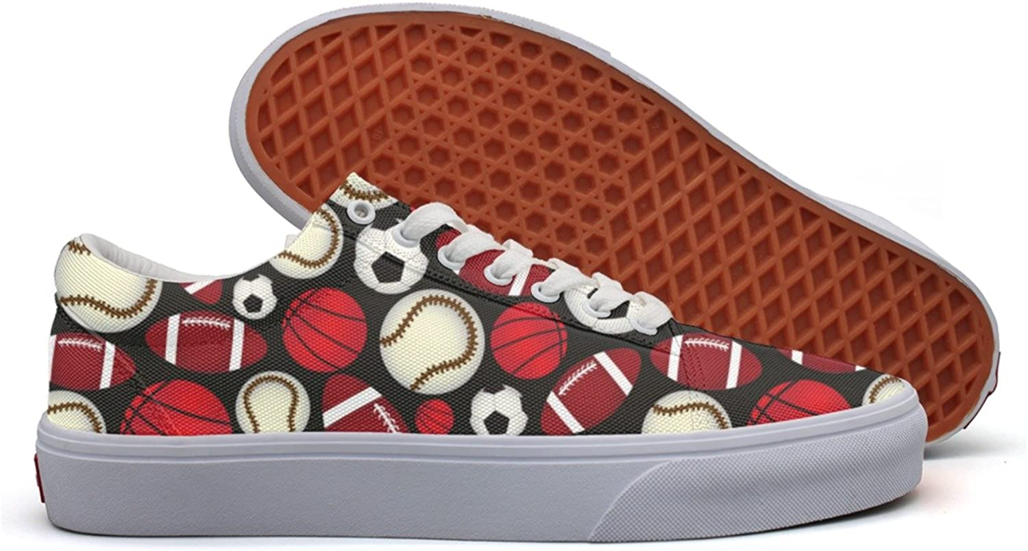 Charmarm Red Rugby Baseball Basketball Football Ball Womens Cute Low Top Canvas Running shoes