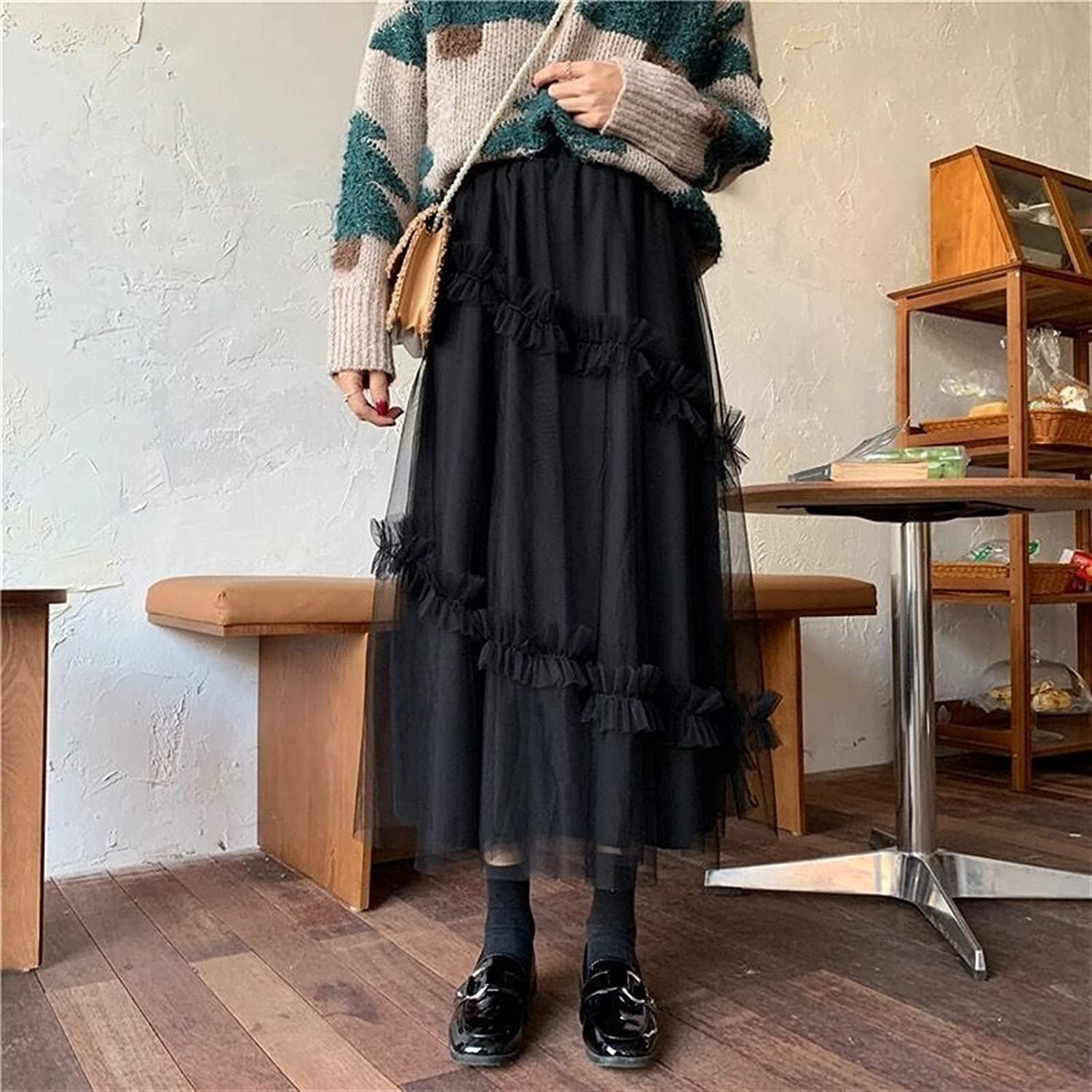 Yunbai List price Limited time for free shipping Women's Elastic Waist Chiffon Skirt Puffy Tulle Petticoat