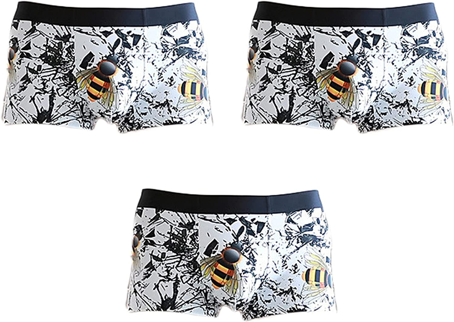 Andongnywell Men printed ice silk Boxer Briefs Underwear for Man Stylish Comfortable Boxer Quick-drying Cool 3 Pack
