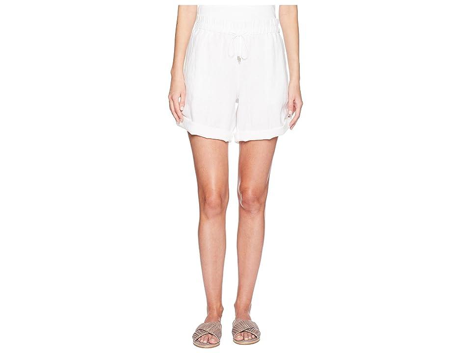 Eileen Fisher Rolled Organic Linen Shorts (White) Women