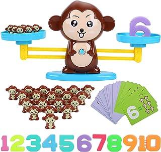 FORMIZON Equilibrar Juego de Matemáticas, Juguete Animal Balanza, Juguete Educativo Niños Balanza de Equilibrio Números Tarjetas, Juego Divertido Regalo Educativo para Niñas Niños (Monos)