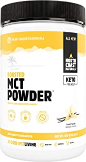 North Coast Naturals Boosted MCT Oil Powder – Keto Acacia Prebiotic Fibres - Non-GMO and Vegan (300 g/ 10.6 oz, French Van...