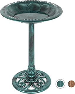 Best Choice Products Outdoor Rustic Pedestal Bird Bath Accent for Garden, Yard w/Fleur-de-Lis Accents Green