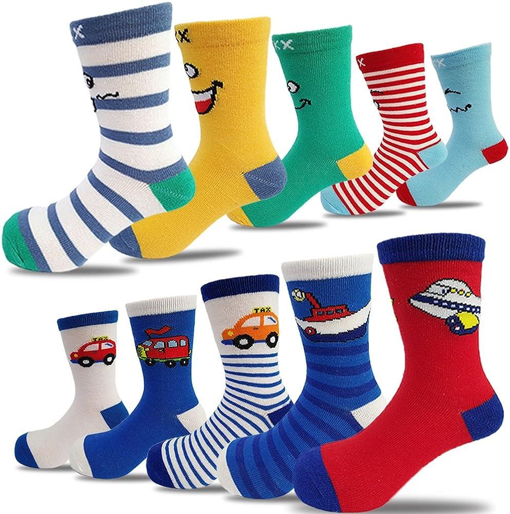 Seekay Boys' 10 Pairs Colorful Fashion Cotton Crew Socks